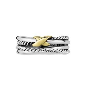 DAVID YURMAN Silver Crossover Ring with Gold X